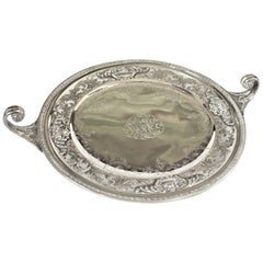 Antique Sterling Silver Curled Handle & Ornately Engraved Centerpiece Bowl