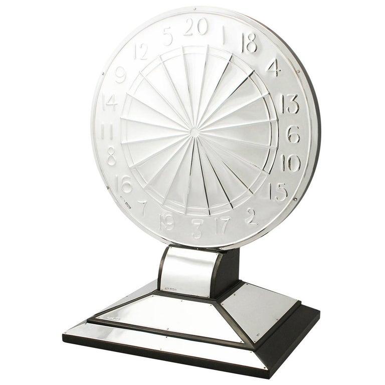 Antique Sterling Silver Dartboard Presentation Trophy For Sale