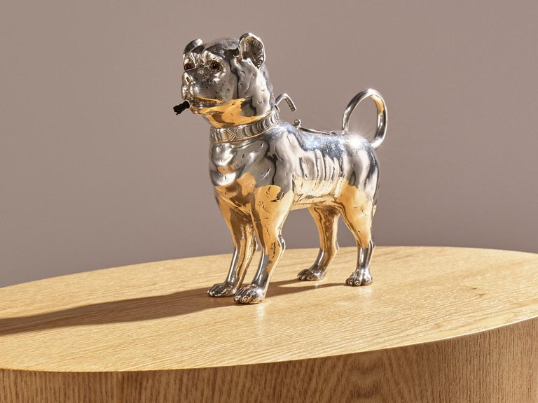 19th Century Antique Sterling Silver Dog Table Lighter by Daniel & John Wellby London, 1890 For Sale