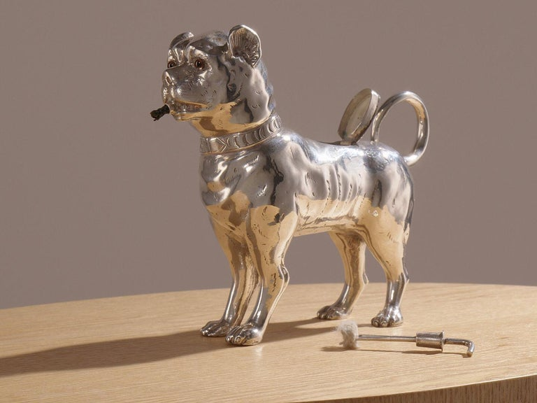 Antique Sterling Silver Dog Table Lighter by Daniel & John Wellby London, 1890 For Sale 2