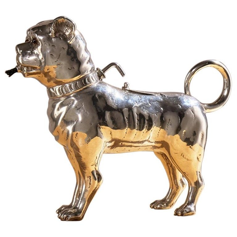 Antique Sterling Silver Dog Table Lighter by Daniel & John Wellby London, 1890 For Sale