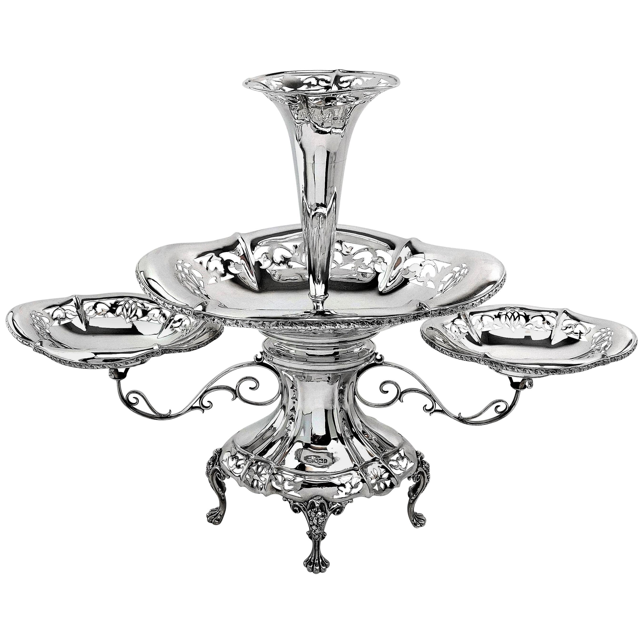Antique Sterling Silver Epergne / Centrepiece / Vase 1911