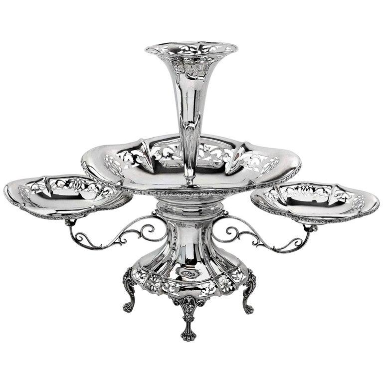 Antique Sterling Silver Epergne / Centrepiece / Vase 1911 For Sale