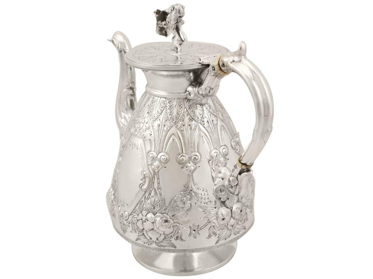 Antique Sterling Silver Four-Piece Tea and Coffee Service For Sale 5
