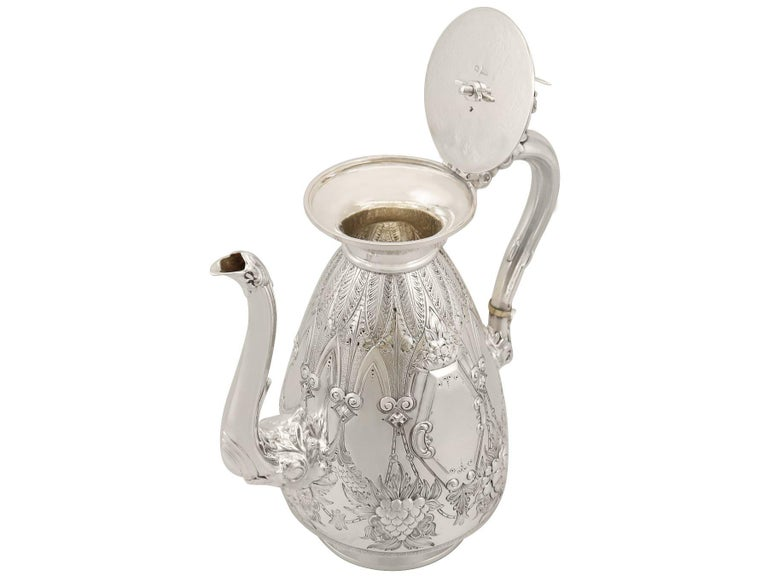 Antique Sterling Silver Four-Piece Tea and Coffee Service For Sale 6