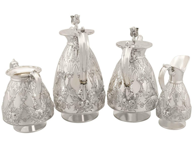 British Antique Sterling Silver Four-Piece Tea and Coffee Service For Sale
