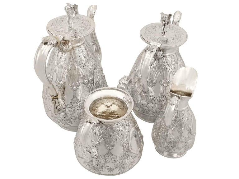 Antique Sterling Silver Four-Piece Tea and Coffee Service In Excellent Condition For Sale In Jesmond, Newcastle Upon Tyne
