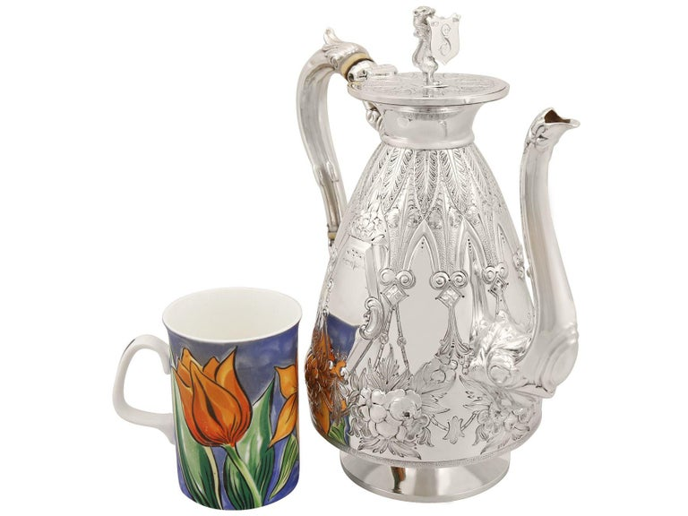 Antique Sterling Silver Four-Piece Tea and Coffee Service For Sale 1
