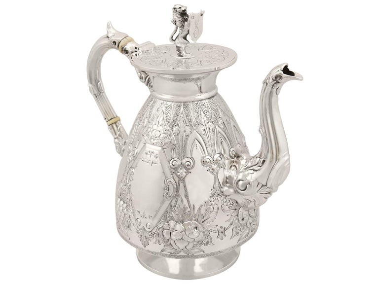 Antique Sterling Silver Four-Piece Tea and Coffee Service For Sale 2