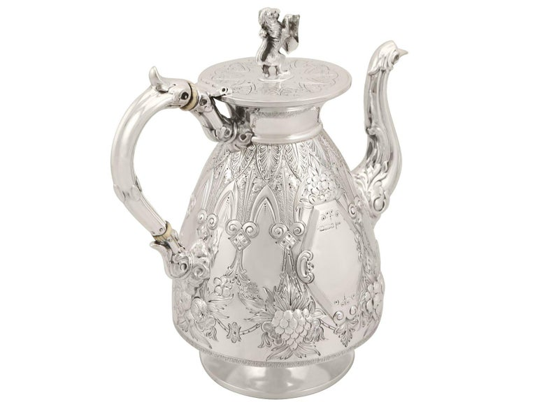 Antique Sterling Silver Four-Piece Tea and Coffee Service For Sale 3