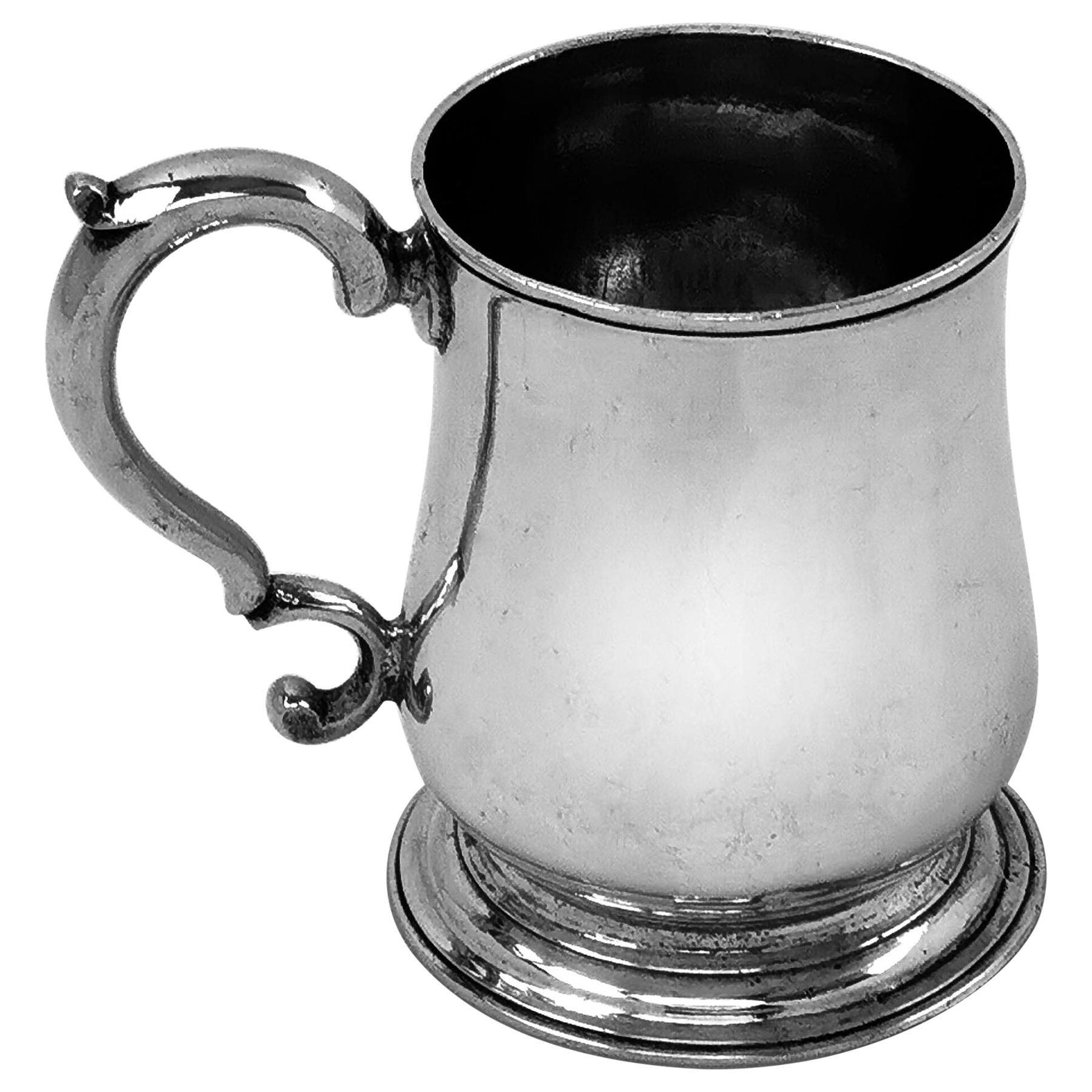 Antique Sterling Silver George II Half Pint Mug 1748 Christening Mug