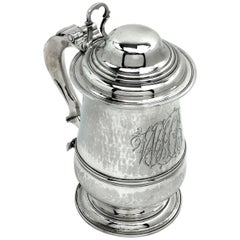 Antique Sterling Silver Georgian Silver Lidded Tankard/Beer Mug 1780 George III