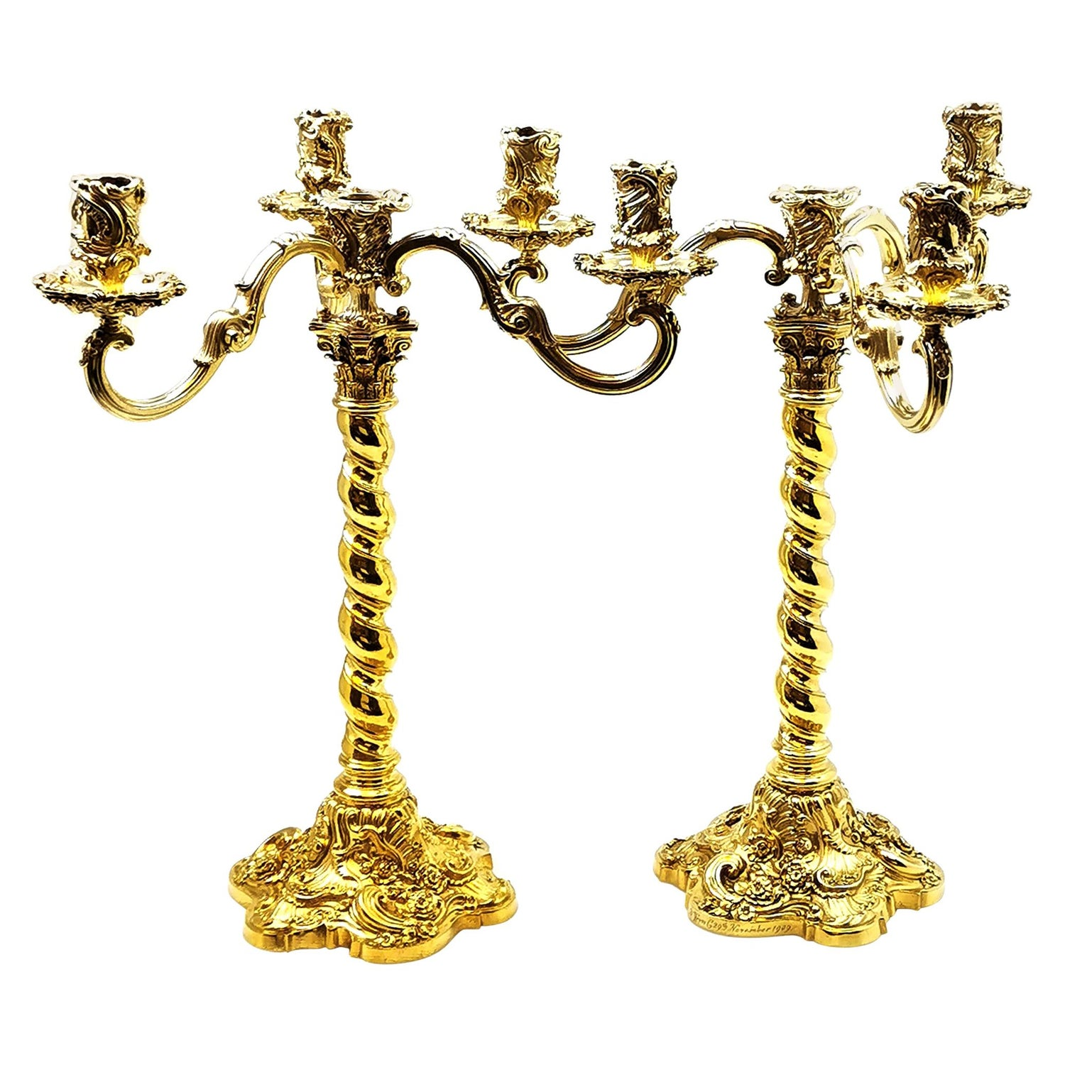 Antique Sterling Silver Gilt 4 Light Candelabra Candlesticks, 1909