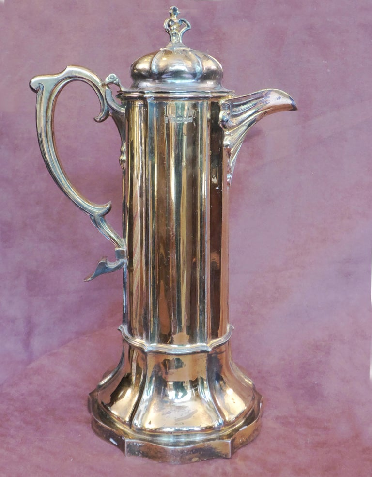 Late 19th Century Antique Sterling Silver Gilt Wine Flagon, 1880 For Sale