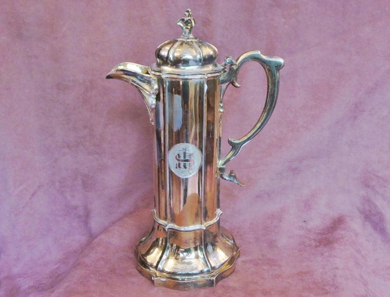 Antique Sterling Silver Gilt Wine Flagon, 1880 For Sale 4