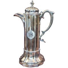 Antique Sterling Silver Gilt Wine Flagon, 1880