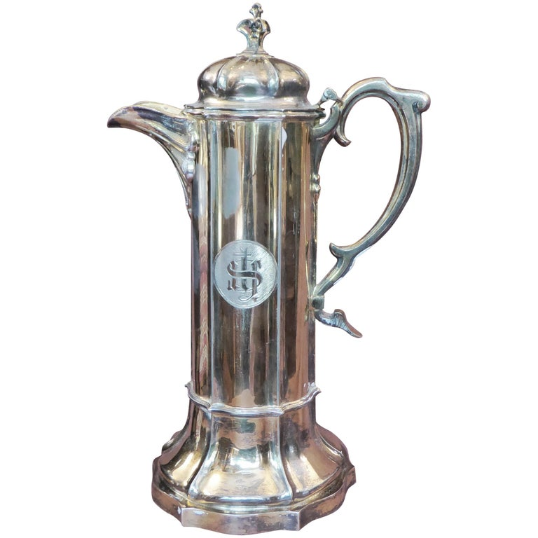 Antique Sterling Silver Gilt Wine Flagon, 1880 For Sale