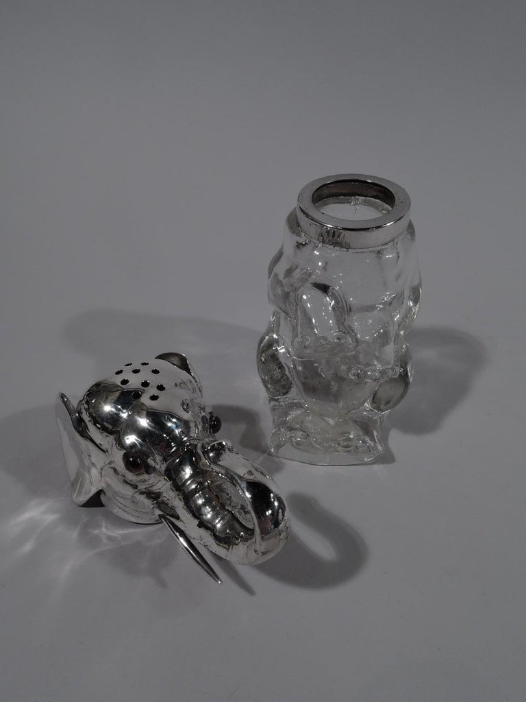 Edwardian Antique Sterling Silver and Glass Elephant Sugar Caster For Sale