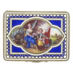 Antique Sterling Silver, Gold-Plated Box with Enamel Painting