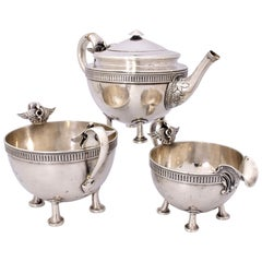 Antique Sterling Silver Gorham Isis Egyptian Revival 3PC Bachelor Tea Set, 1871