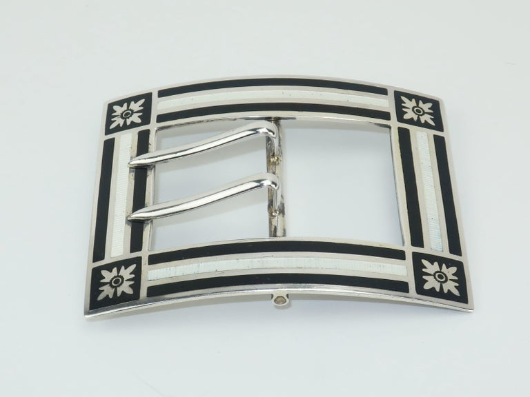 Antique Sterling Silver Guilloche Enamel Buckle Brooch In Good Condition For Sale In Atlanta, GA