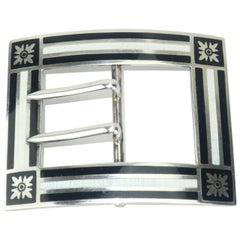 Antique Sterling Silver Guilloche Enamel Buckle Brooch
