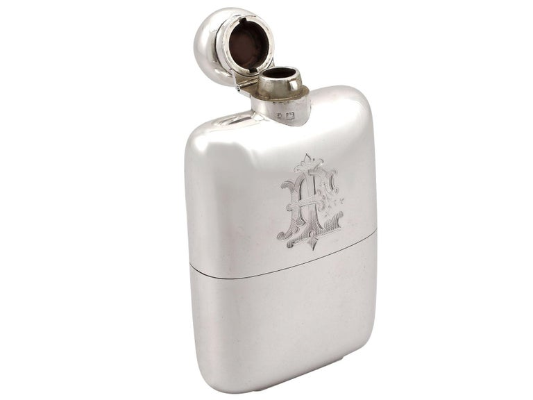 Early 20th Century Antique Sterling Silver Hip Flask - Boxed, 1911