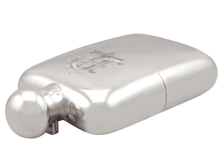 Antique Sterling Silver Hip Flask - Boxed, 1911 1