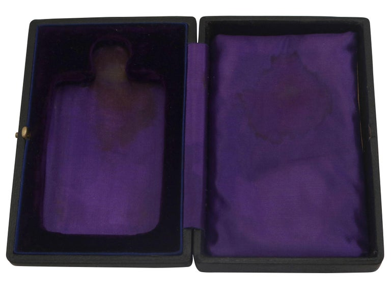 Antique Sterling Silver Hip Flask - Boxed, 1911 3
