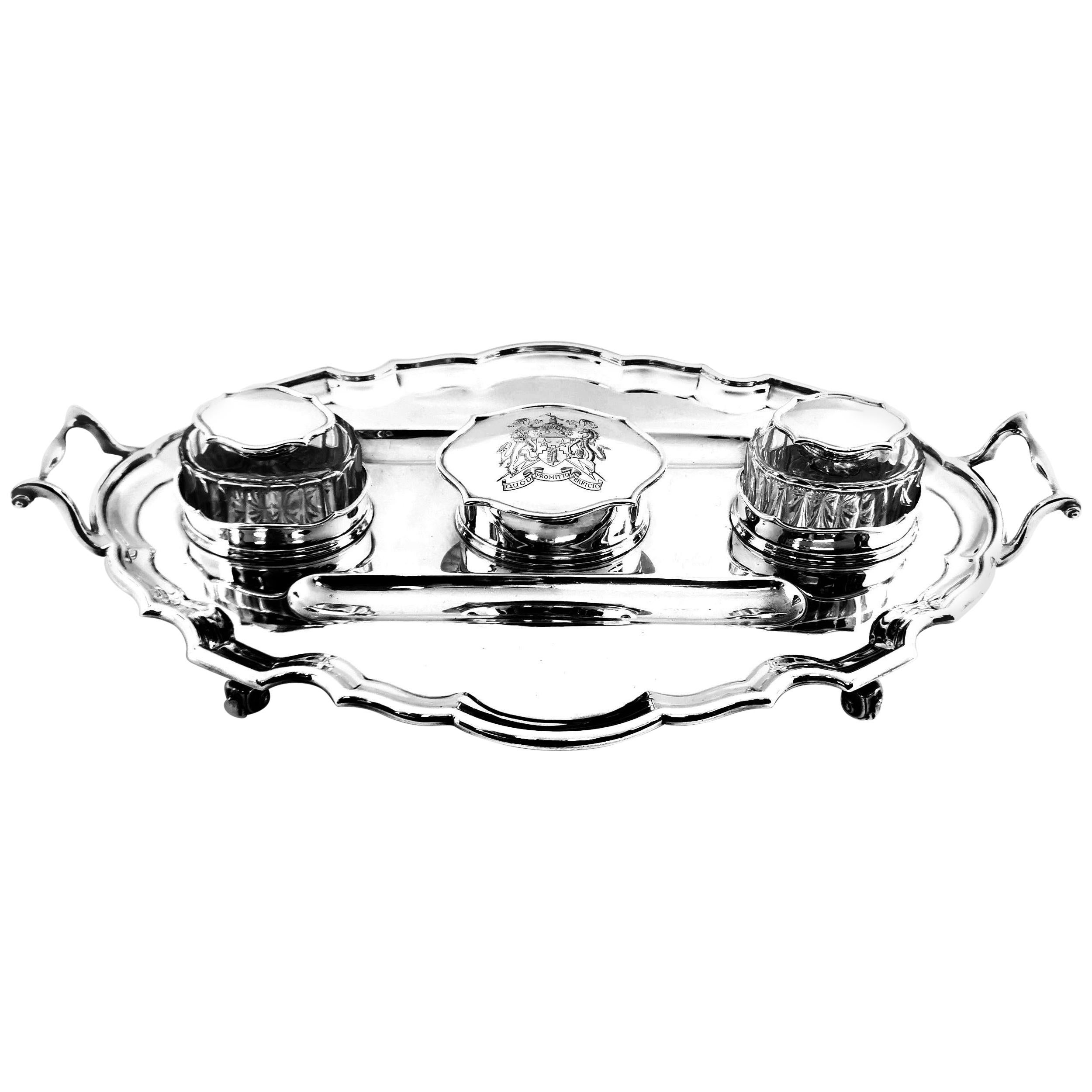 Antique Sterling Silver Inkstand Inkwell 1910 Large Desk Set Pen Tray
