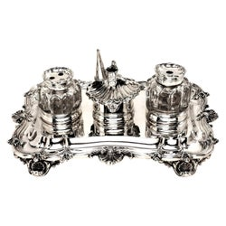 Antique Sterling Silver Inkstand with Glass Inkwells 1837 William IV
