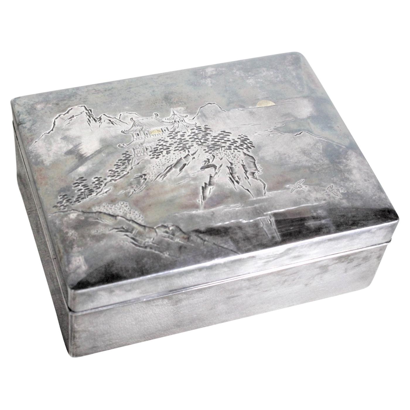 Antique Sterling Silver Japanese Export Engraved Cigarette or Decorative Box