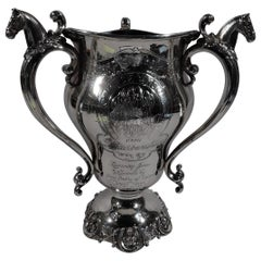 Antique Sterling Silver Kentucky Horse Race Loving Cup Trophy