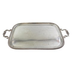 Antique Sterling Silver Large Serving Tray, Chester 1912, Barker Brothers