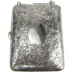 Antique Sterling Silver Mirror Card Coin Purse Compact Case nécessaire