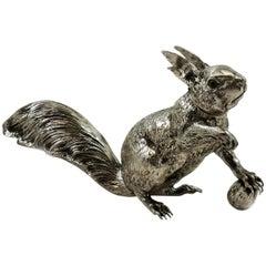 Antique Sterling Silver Model Squirrel Figurine Statue, Germany, circa 1920