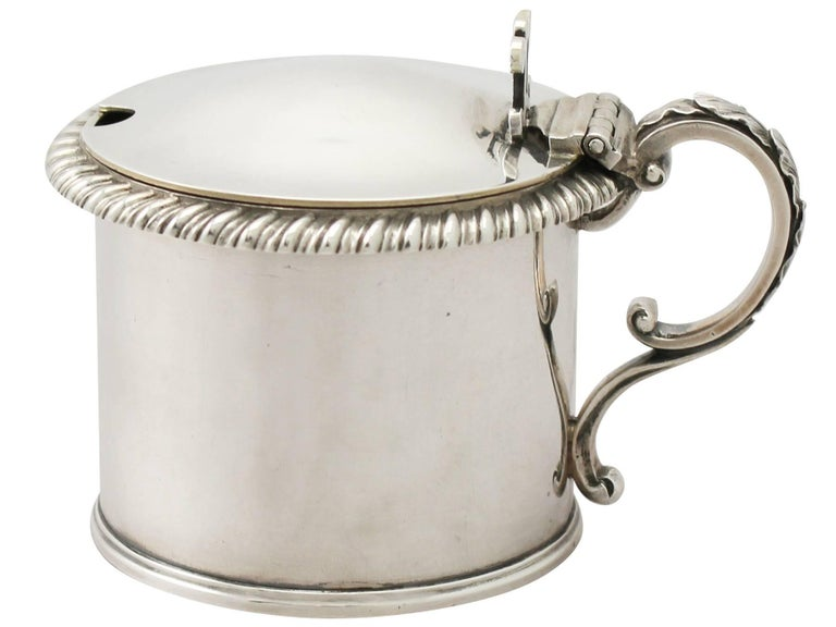 A very fine antique William IV English sterling silver drum mustard pot; an addition to our silver condiment collection.
