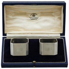 Antique Sterling Silver Napkin Rings by Mappin & Webb Ltd, 1939