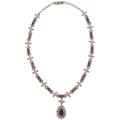 Antique Sterling Silver Necklace with White and Soft Amethyst Paste Stones