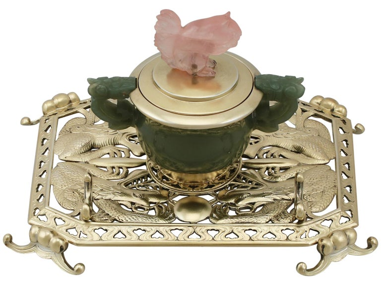An exceptional, fine and impressive, unusual antique George V English sterling silver, nephrite and rose quartz inkstand; an addition to our ornamental silverware collection.  This exceptional antique sterling silver gilt inkstand has a