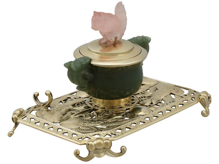 Early 20th Century Antique Sterling Silver Nephrite and Rose Quartz Inkstand, 1926 For Sale