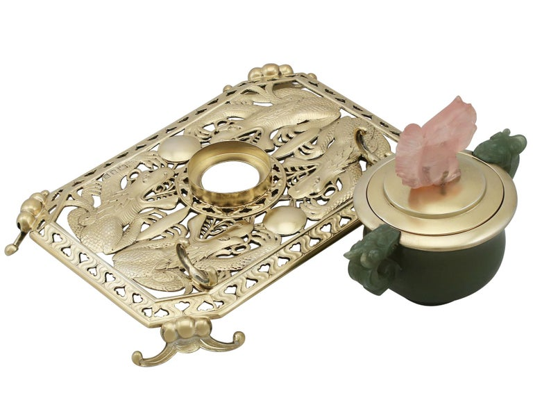 Antique Sterling Silver Nephrite and Rose Quartz Inkstand, 1926 For Sale 1