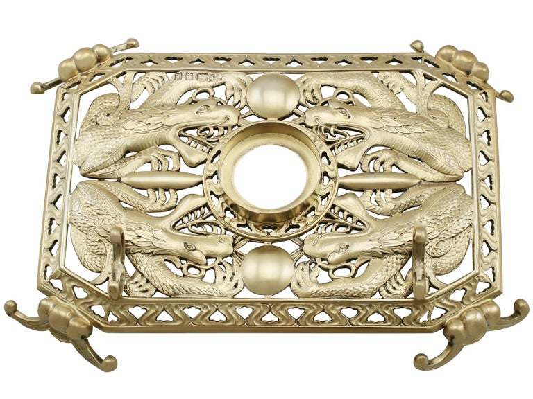 Antique Sterling Silver Nephrite and Rose Quartz Inkstand, 1926 For Sale 2