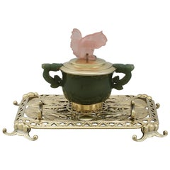 Antique Sterling Silver Nephrite and Rose Quartz Inkstand, 1926