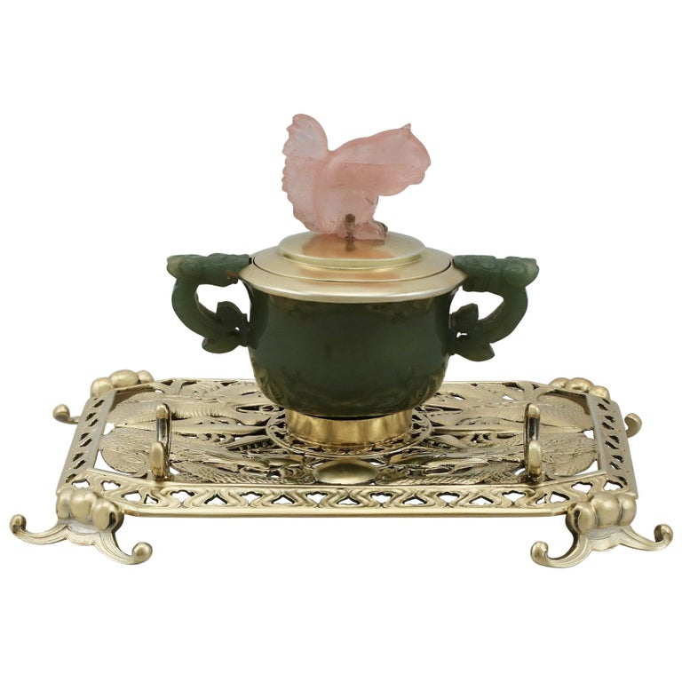 Antique Sterling Silver Nephrite and Rose Quartz Inkstand, 1926 For Sale
