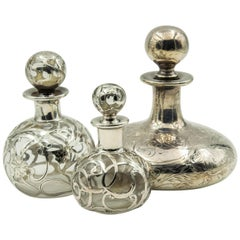 Antique Sterling Silver Overlay Perfume Bottles Set of Three