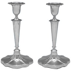 Antique Sterling Silver Pair of Candlesticks by Walker & Hall Sheffield, 1914