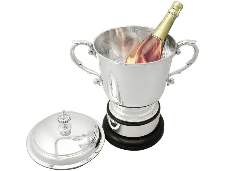 English Antique Sterling Silver Presentation / Champagne Cup and Cover 2146g For Sale