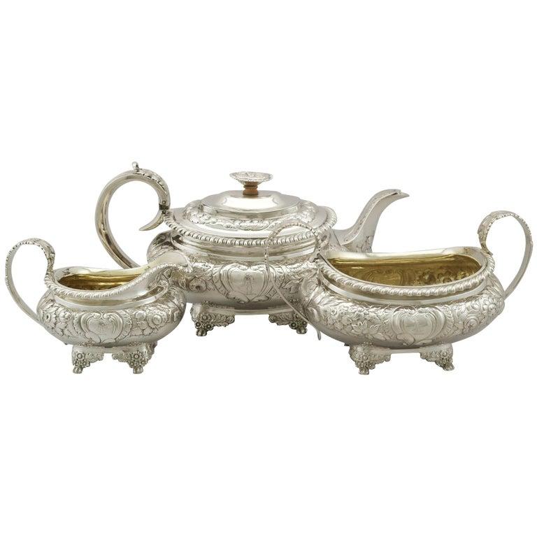 Antique Sterling Silver Regency Three-Piece Tea Service by Charles Thomas Fox