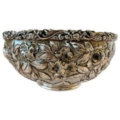 Antique Sterling Silver Repoussé Bowl